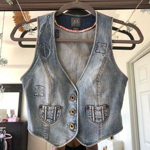 Armani Exchange Denim Cropped Feather Vest